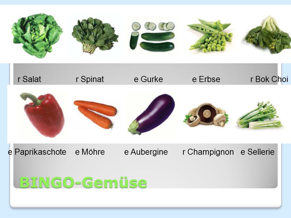 BINGO-Gemüse r Salat r Spinat e Gurke e Erbse r Bok Choi