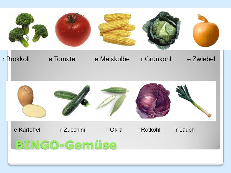 BINGO-Gemüse r Brokkoli e Tomate e Maiskolbe r Grünkohl e Zwiebel
