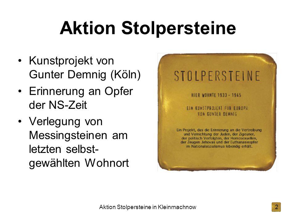 Aktion Stolpersteine in Kleinmachnow