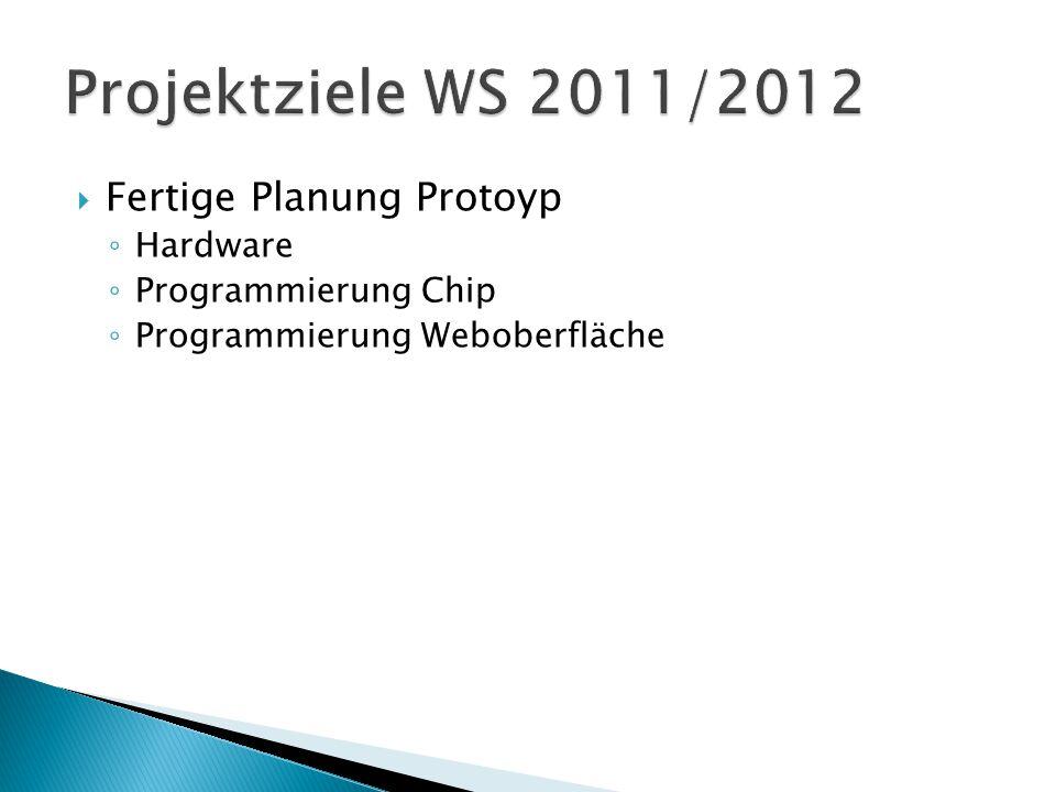 Projektziele WS 2011/2012 Fertige Planung Protoyp Hardware