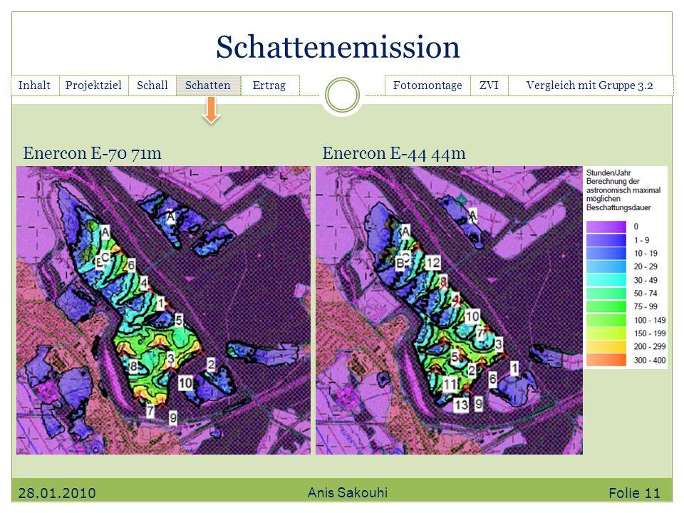 Schattenemission Enercon E-70 71m Enercon E-44 44m 28.01.2010