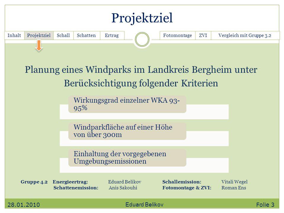 Projektziel Planung eines Windparks im Landkreis Bergheim unter