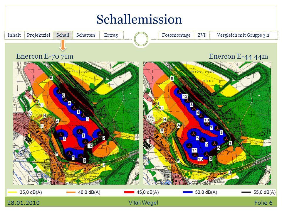 Schallemission Enercon E-70 71m Enercon E-44 44m 28.01.2010