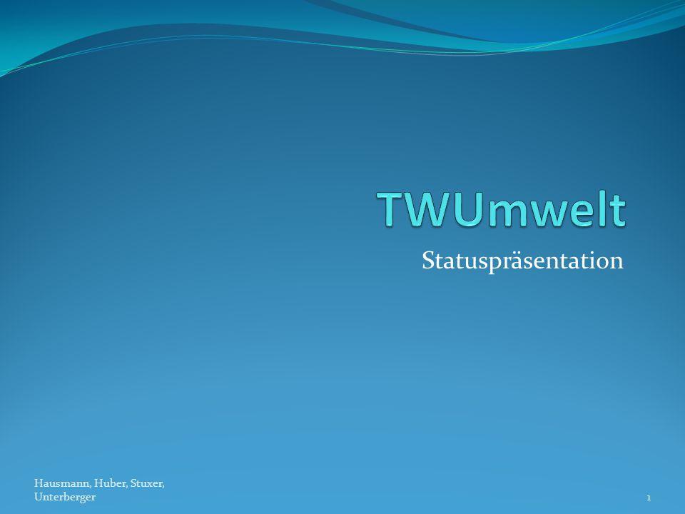 TWUmwelt Statuspräsentation Hausmann, Huber, Stuxer, Unterberger