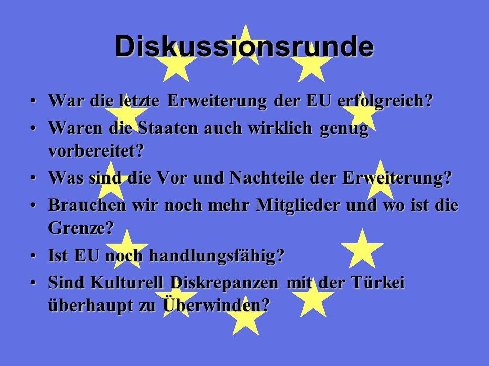 Diskussionsrunde War die letzte Erweiterung der EU erfolgreich