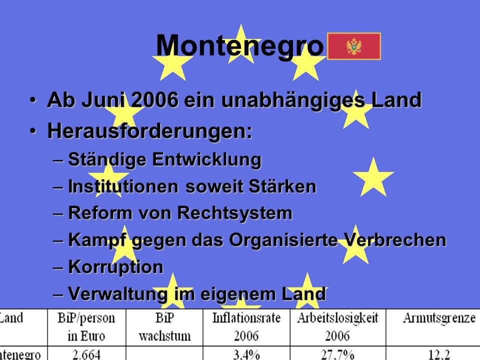 Montenegro Ab Juni 2006 ein unabhängiges Land Herausforderungen: