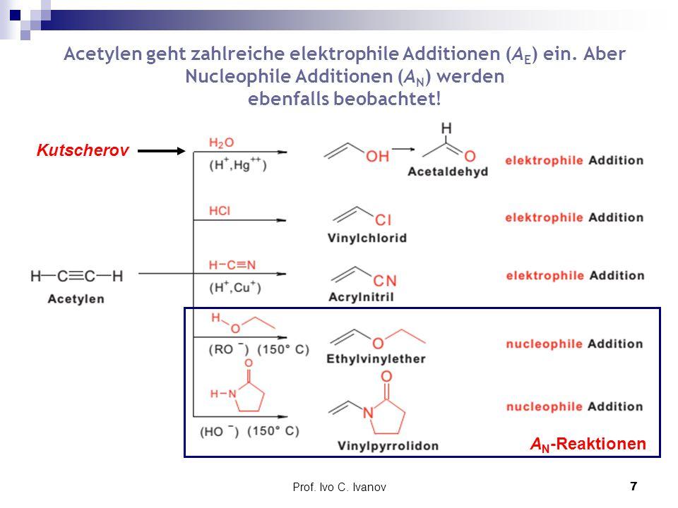 Acetylen geht zahlreiche elektrophile Additionen (AE) ein