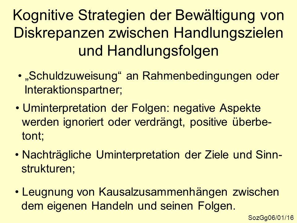 Kognitive Strategien der Bewältigung von Diskrepanzen zwischen Handlungszielen und Handlungsfolgen