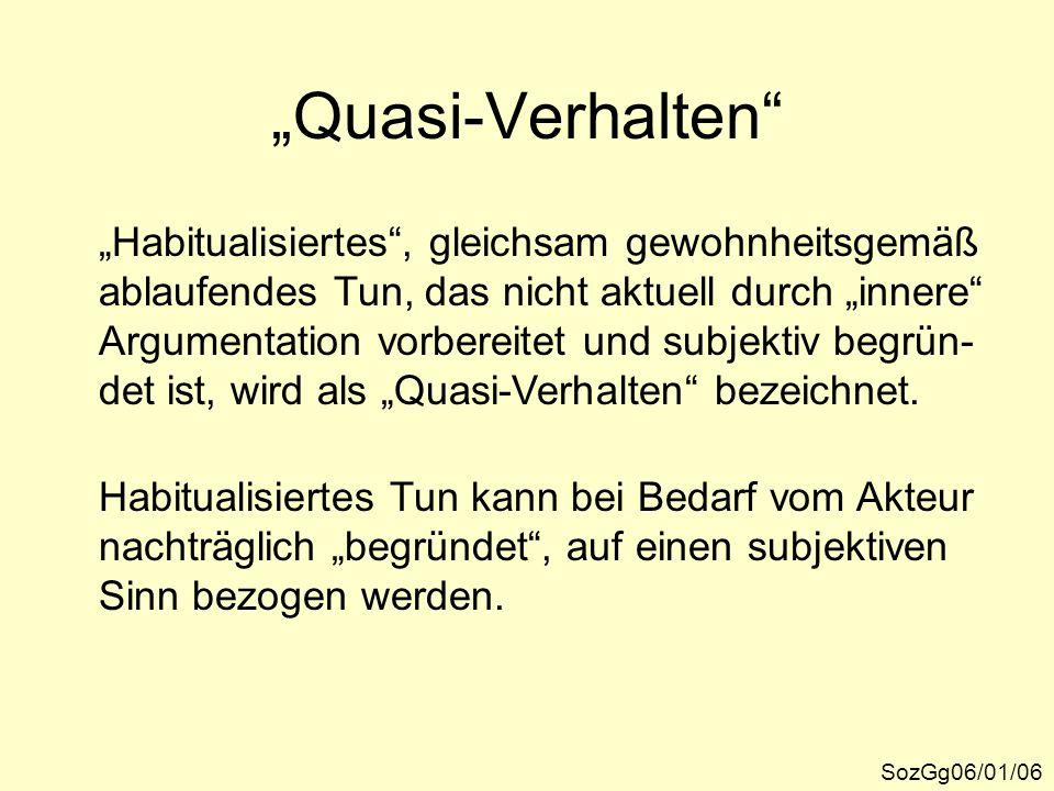 """""""Quasi-Verhalten """"Habitualisiertes , gleichsam gewohnheitsgemäß"""