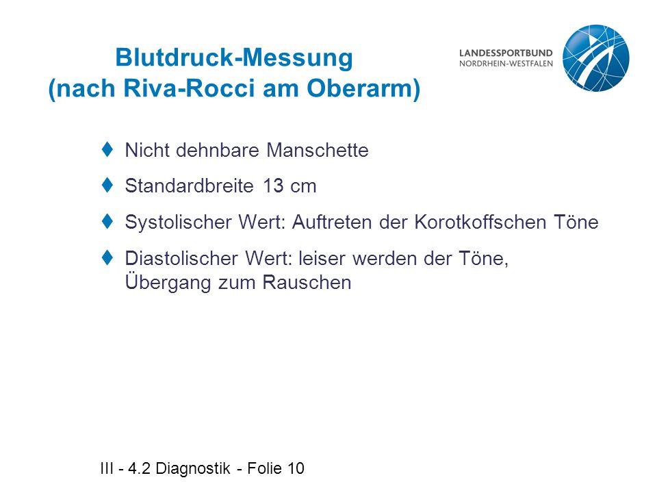 Blutdruck-Messung (nach Riva-Rocci am Oberarm)