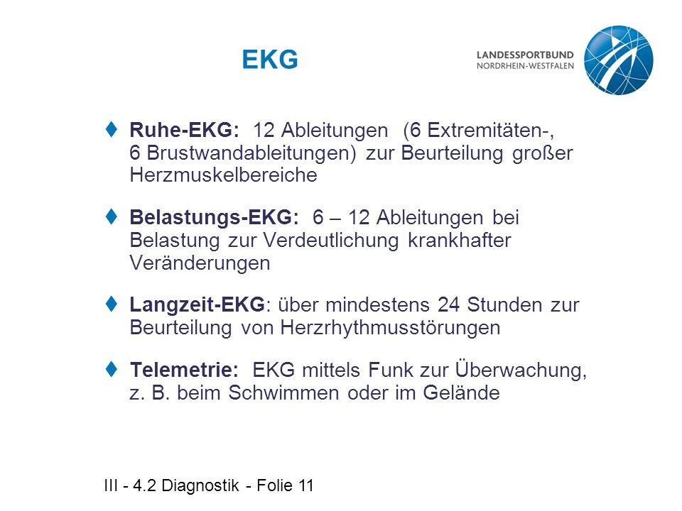 EKG Ruhe-EKG: 12 Ableitungen (6 Extremitäten-, 6 Brustwandableitungen) zur Beurteilung großer Herzmuskelbereiche.