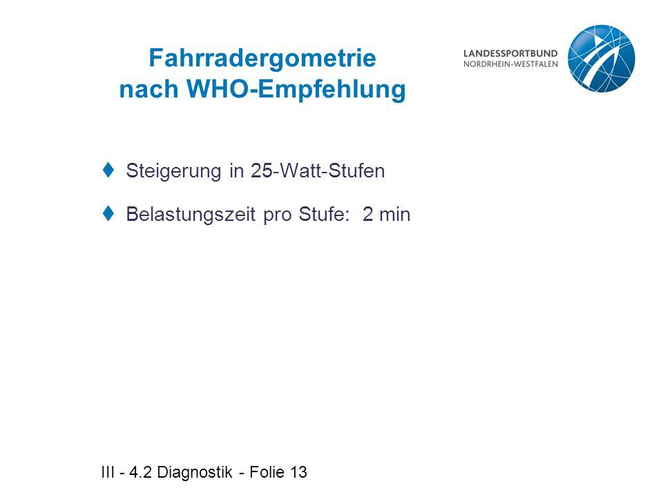 Fahrradergometrie nach WHO-Empfehlung