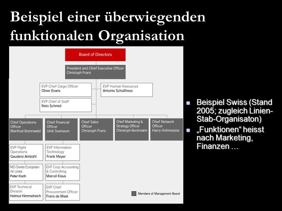 Beispiel einer überwiegenden funktionalen Organisation