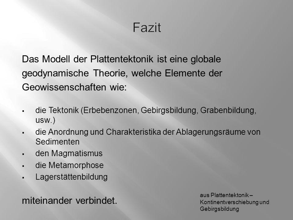 Fazit Das Modell der Plattentektonik ist eine globale