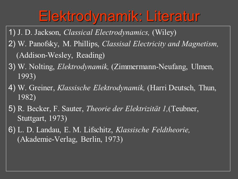 Elektrodynamik: Literatur