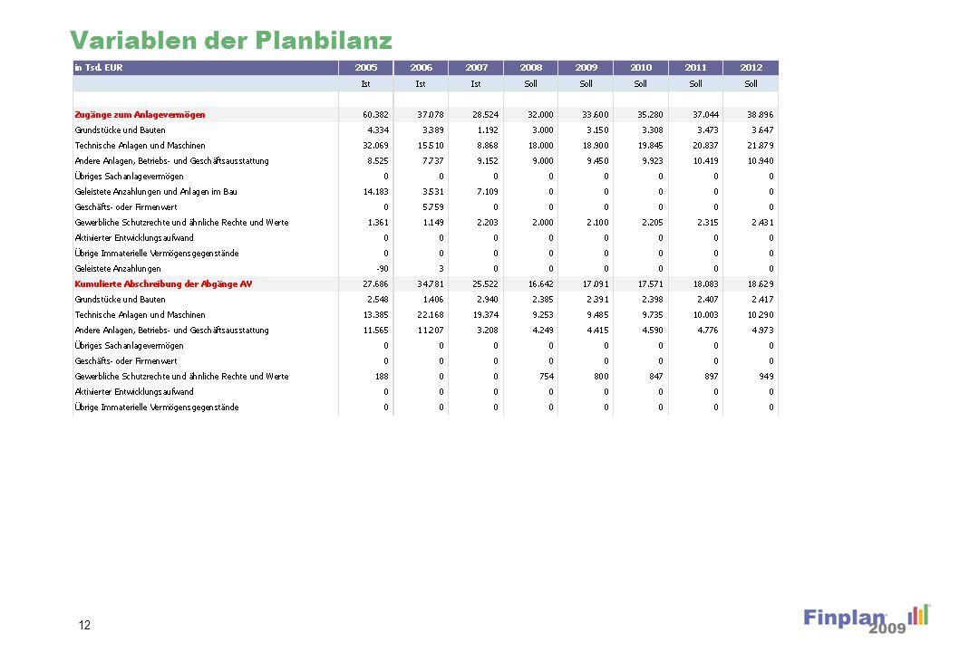 Variablen der Planbilanz (Forts.)