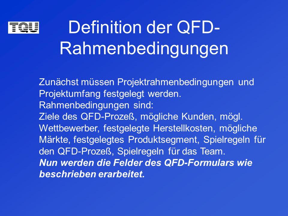 Definition der QFD-Rahmenbedingungen