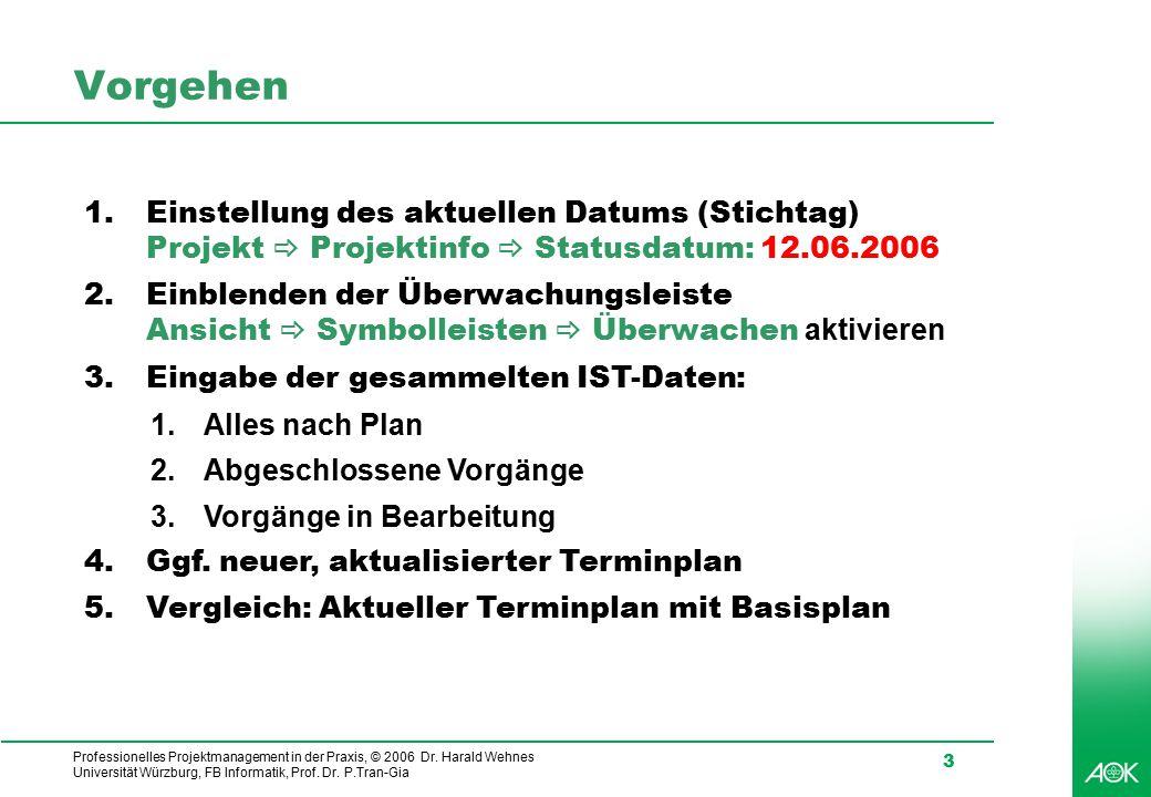Vorgehen Einstellung des aktuellen Datums (Stichtag) Projekt _ Projektinfo _ Statusdatum: 12.06.2006.
