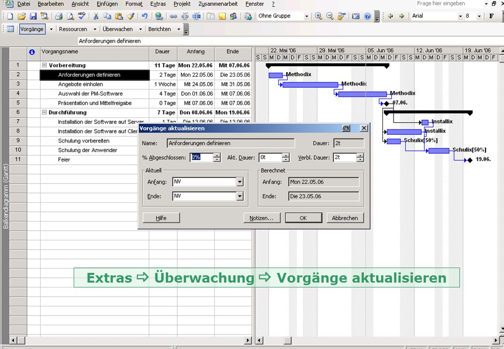 Extras _ Überwachung _ Vorgänge aktualisieren