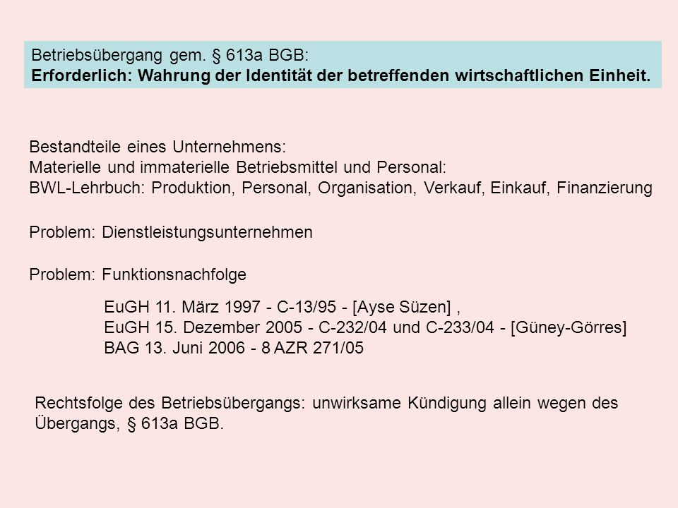 Betriebsübergang gem. § 613a BGB: