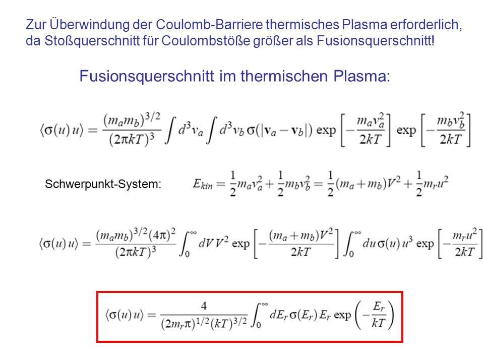 Fusionsquerschnitt im thermischen Plasma: