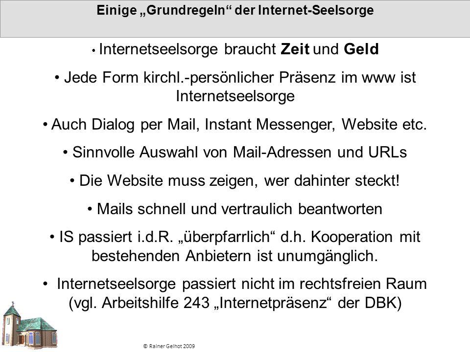 """Einige """"Grundregeln der Internet-Seelsorge"""