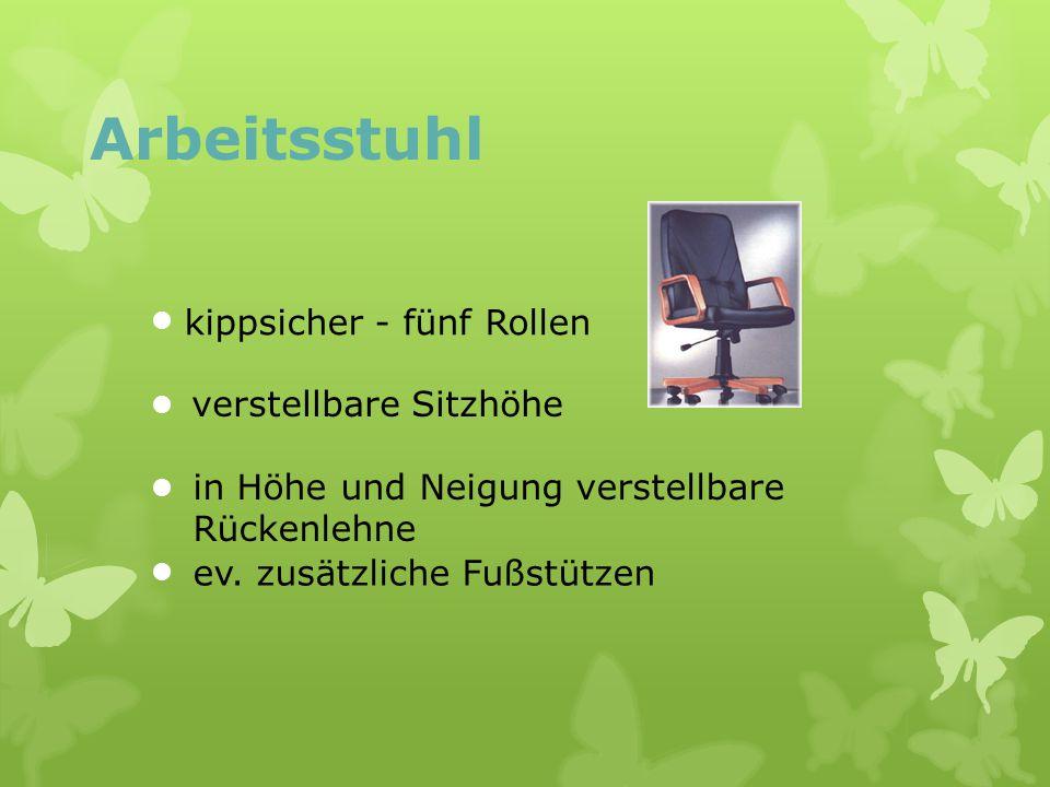 Arbeitsstuhl kippsicher - fünf Rollen verstellbare Sitzhöhe