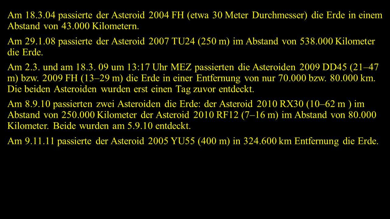 Am 18.3.04 passierte der Asteroid 2004 FH (etwa 30 Meter Durchmesser) die Erde in einem Abstand von 43.000 Kilometern.