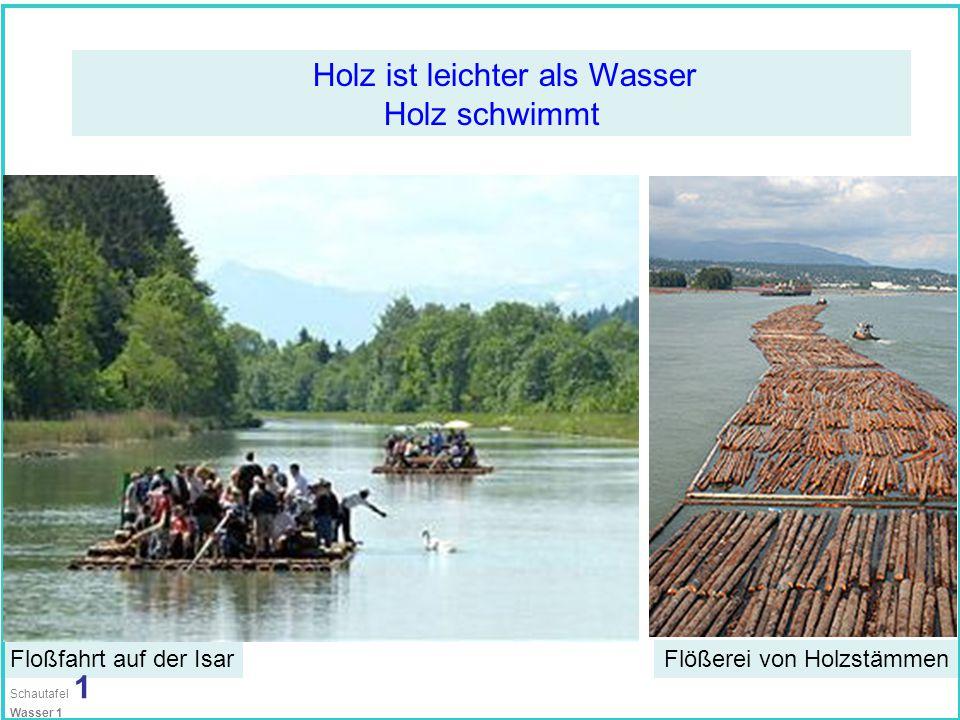 Holz ist leichter als Wasser