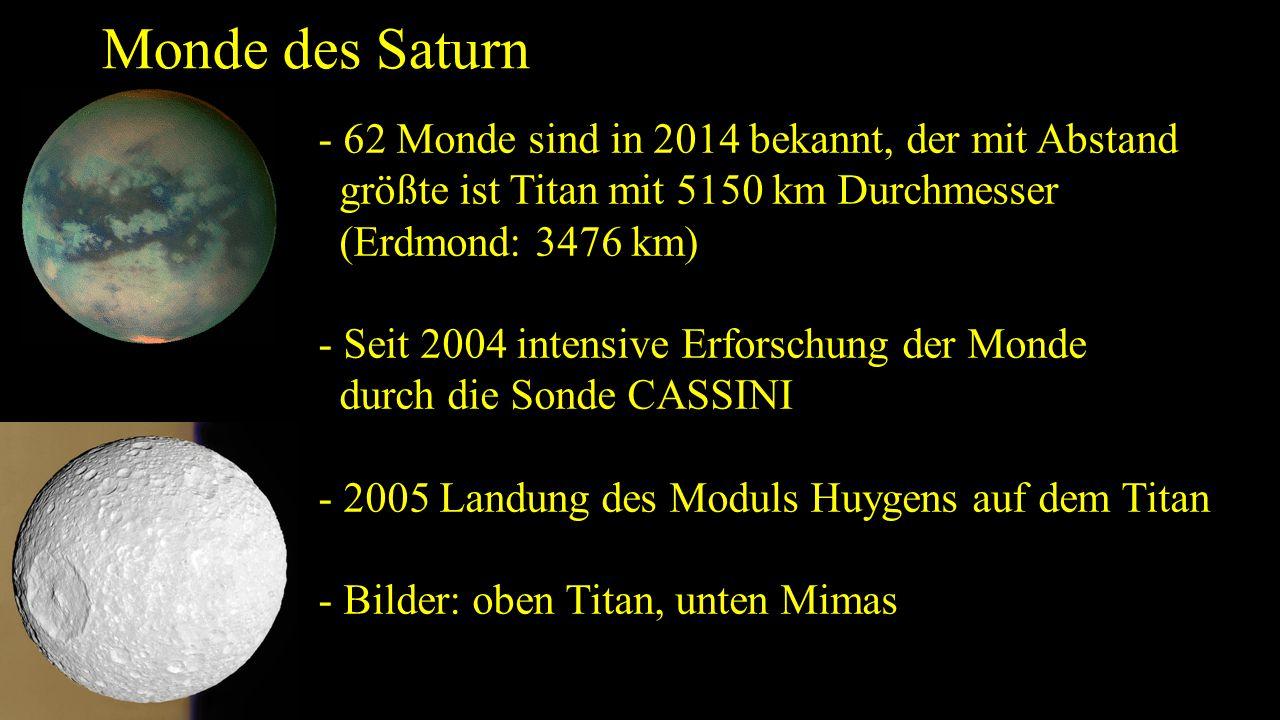 Monde des Saturn - 62 Monde sind in 2014 bekannt, der mit Abstand