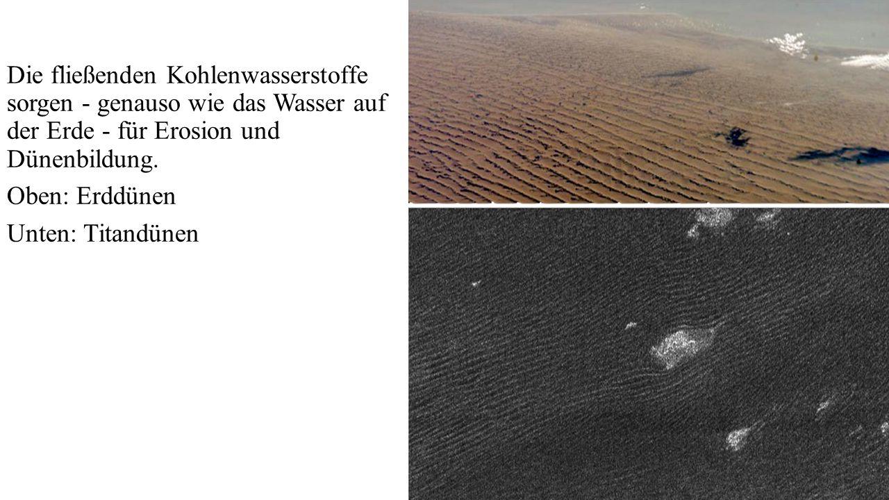 Die fließenden Kohlenwasserstoffe sorgen - genauso wie das Wasser auf der Erde - für Erosion und Dünenbildung.
