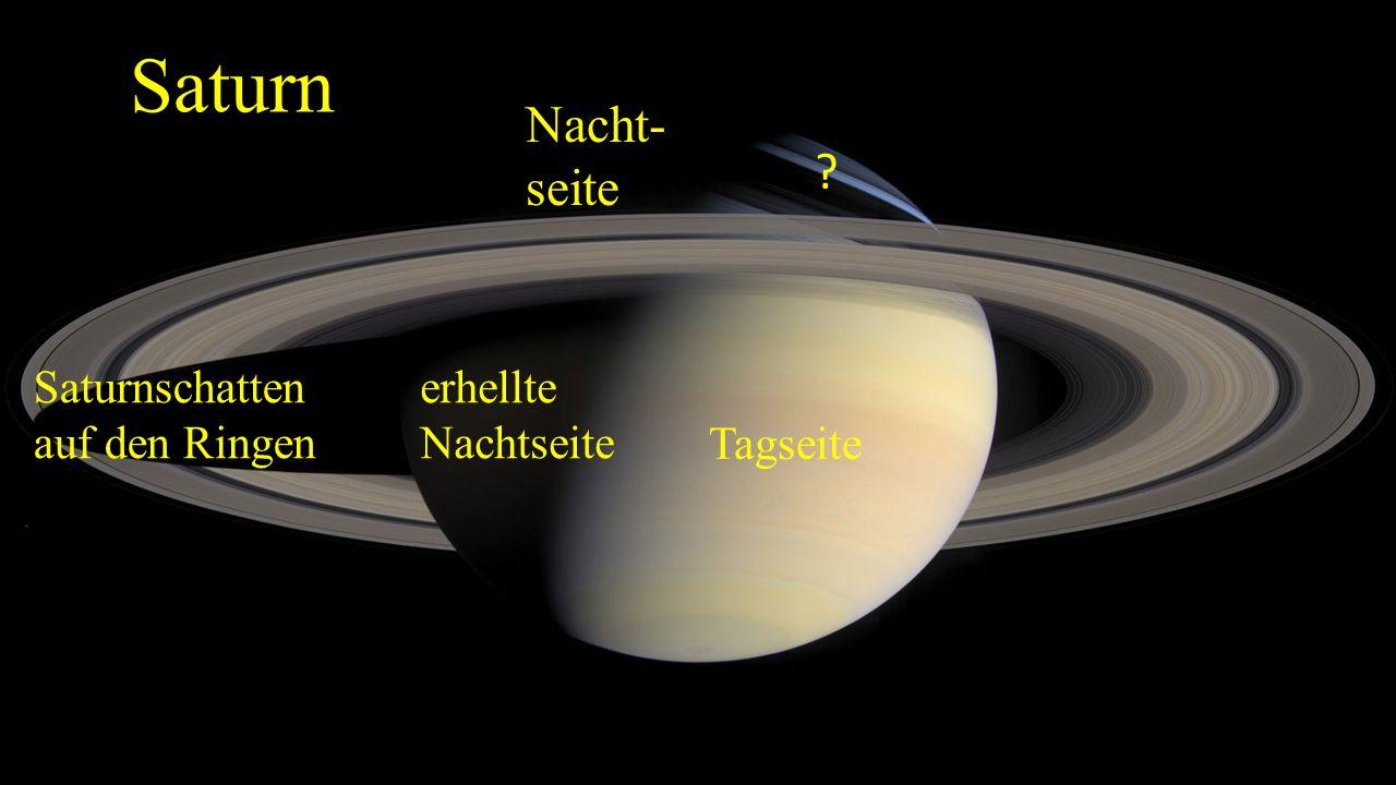 Saturn Nacht- seite Saturnschatten auf den Ringen erhellte