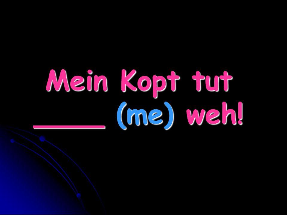 Mein Kopt tut ____ (me) weh!