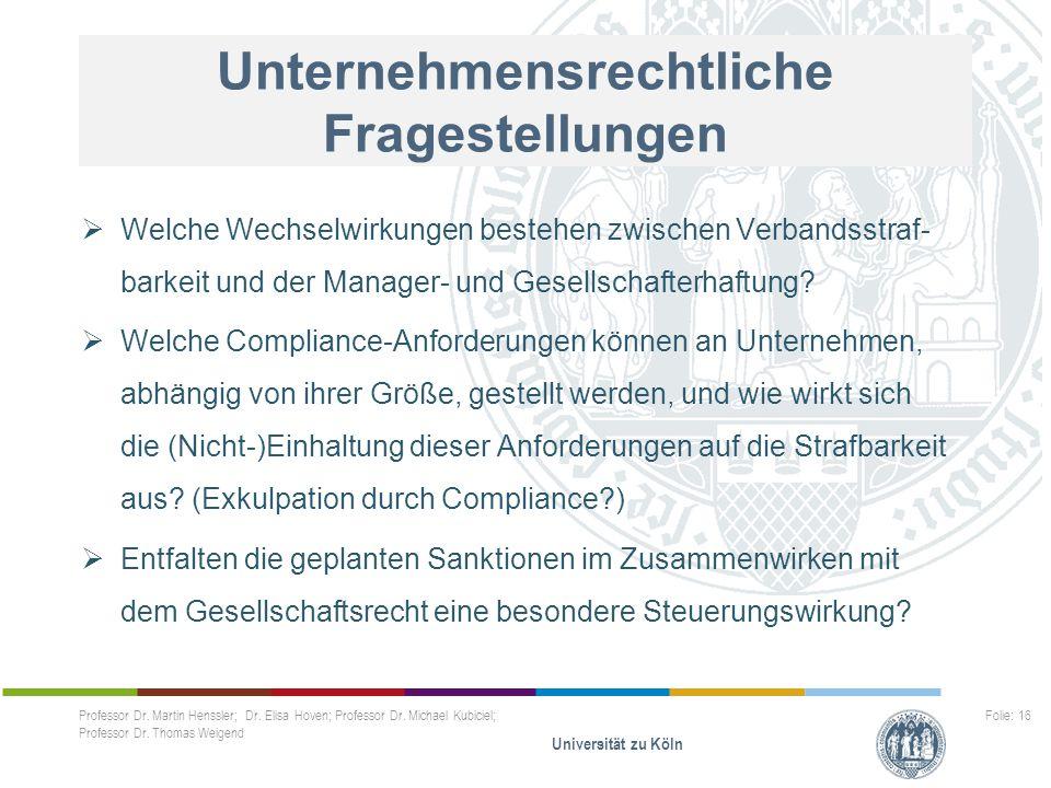 Unternehmensrechtliche Fragestellungen