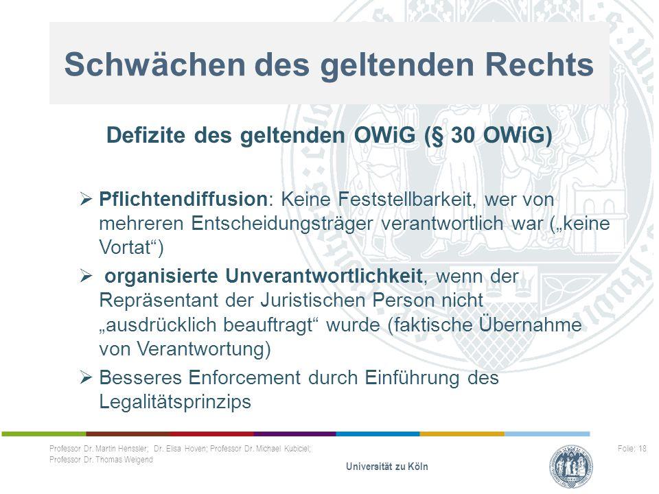 Schwächen des geltenden Rechts Defizite des geltenden OWiG (§ 30 OWiG)