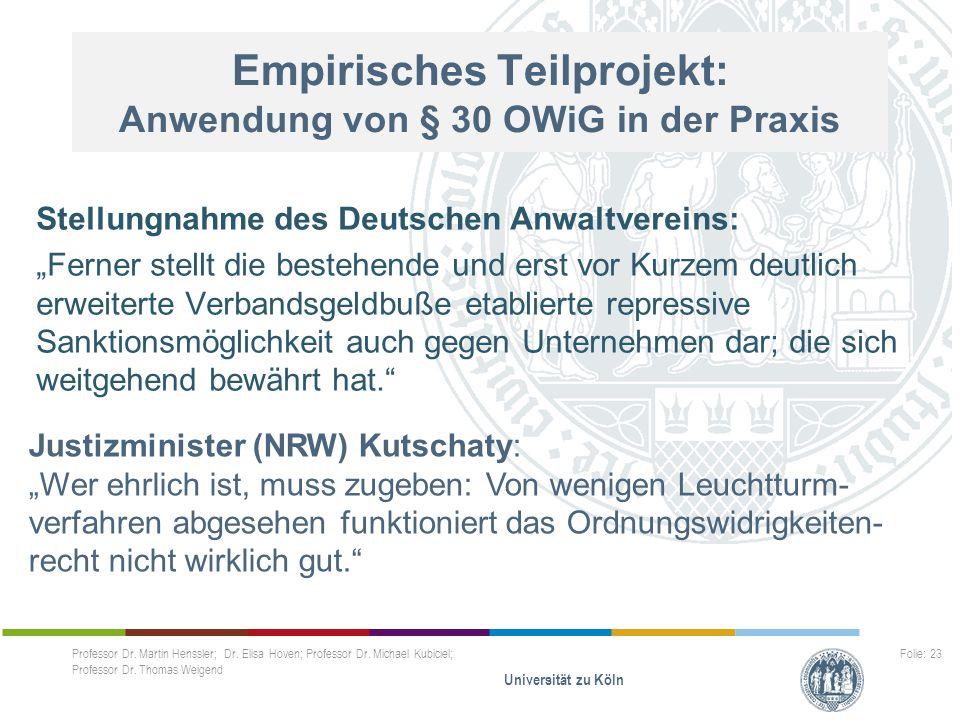 Empirisches Teilprojekt: Anwendung von § 30 OWiG in der Praxis