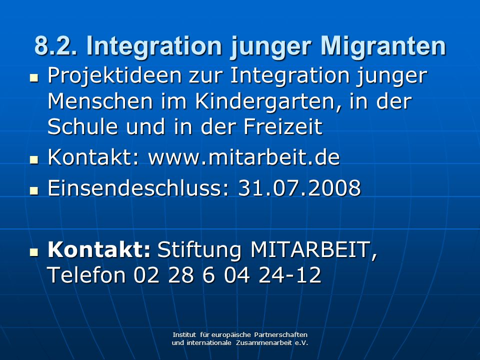 8.2. Integration junger Migranten