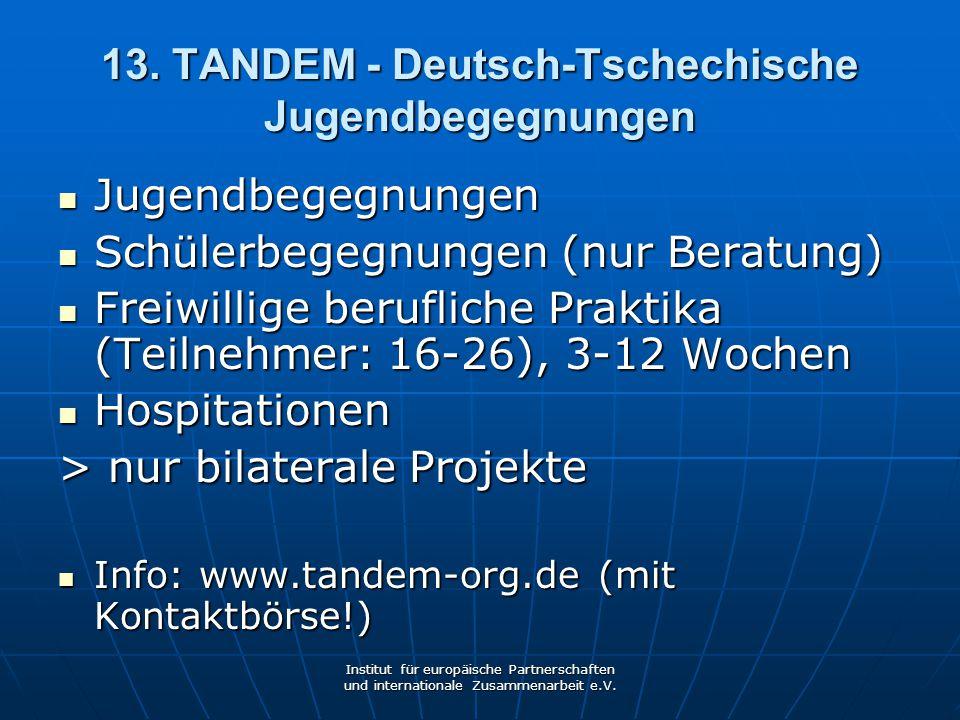 13. TANDEM - Deutsch-Tschechische Jugendbegegnungen