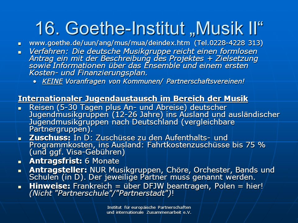 "16. Goethe-Institut ""Musik II"