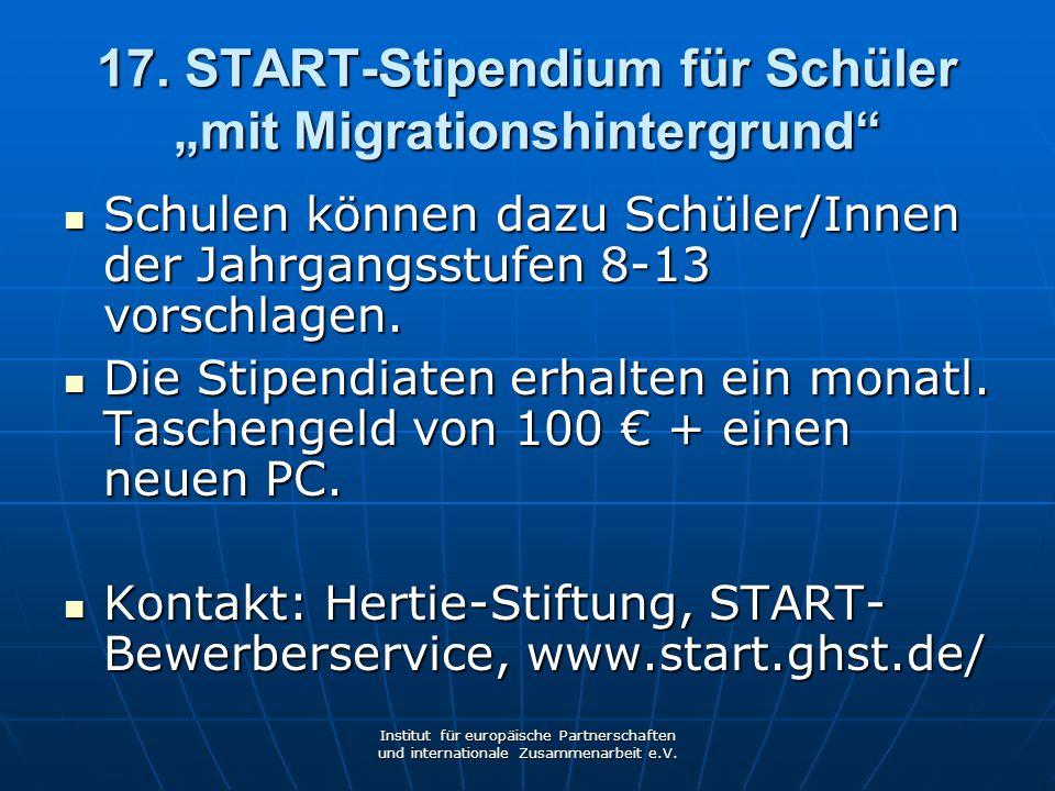 """17. START-Stipendium für Schüler """"mit Migrationshintergrund"""