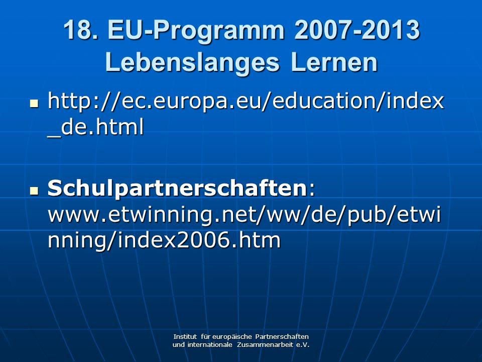 18. EU-Programm 2007-2013 Lebenslanges Lernen