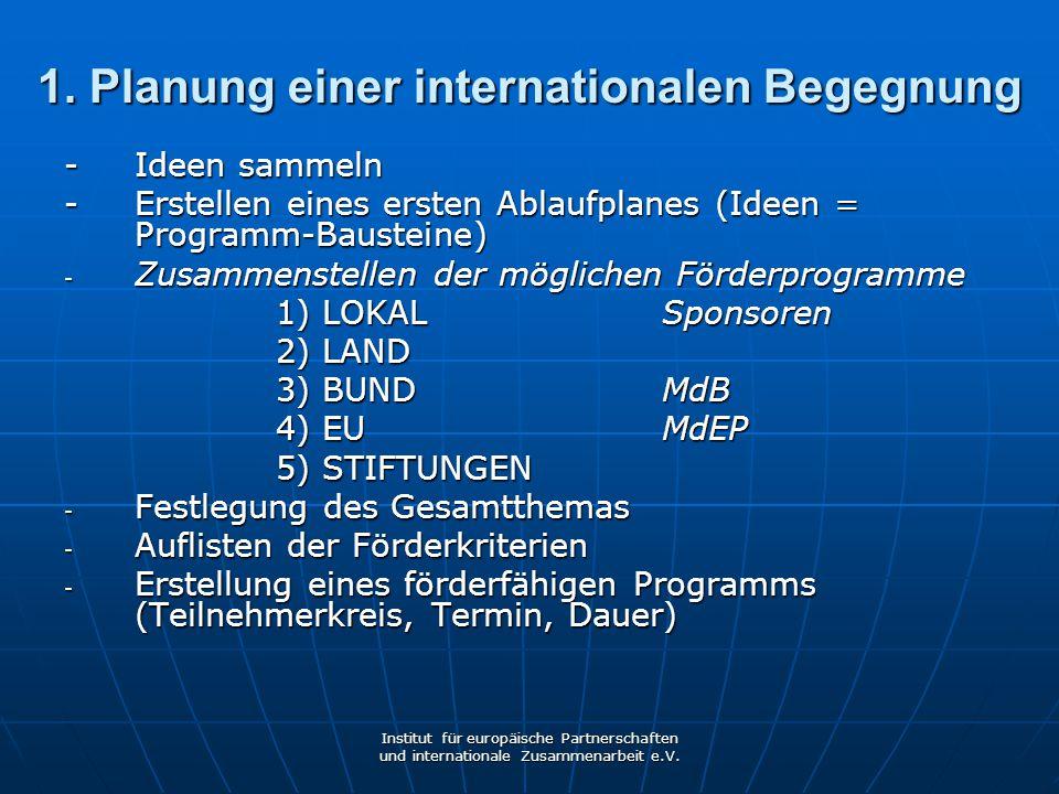 1. Planung einer internationalen Begegnung
