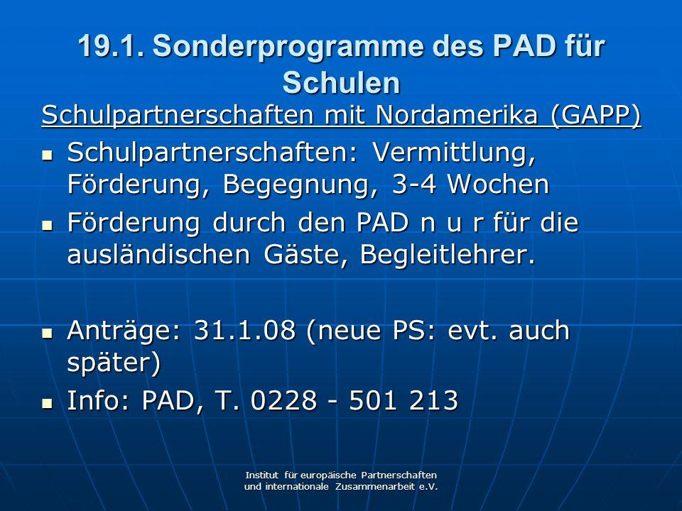 19.1. Sonderprogramme des PAD für Schulen