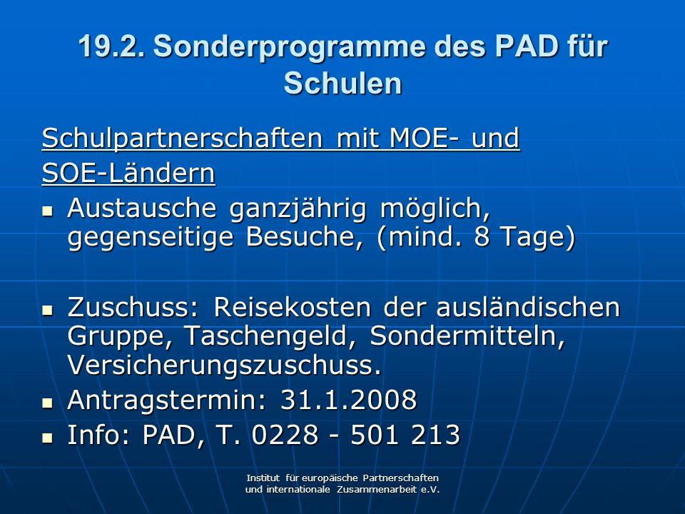 19.2. Sonderprogramme des PAD für Schulen