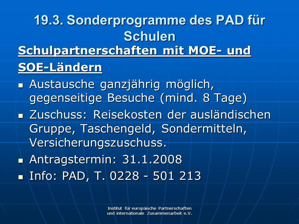 19.3. Sonderprogramme des PAD für Schulen