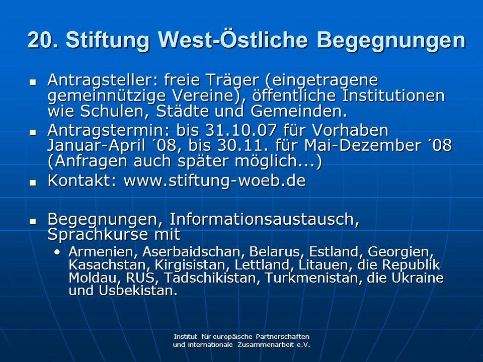 20. Stiftung West-Östliche Begegnungen