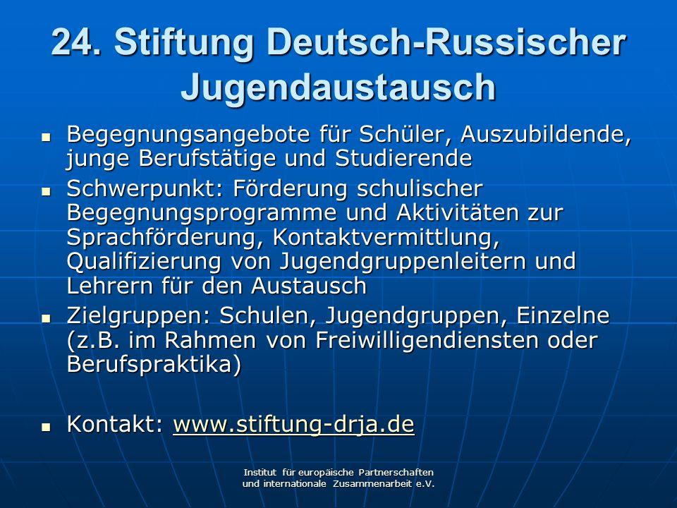 24. Stiftung Deutsch-Russischer Jugendaustausch