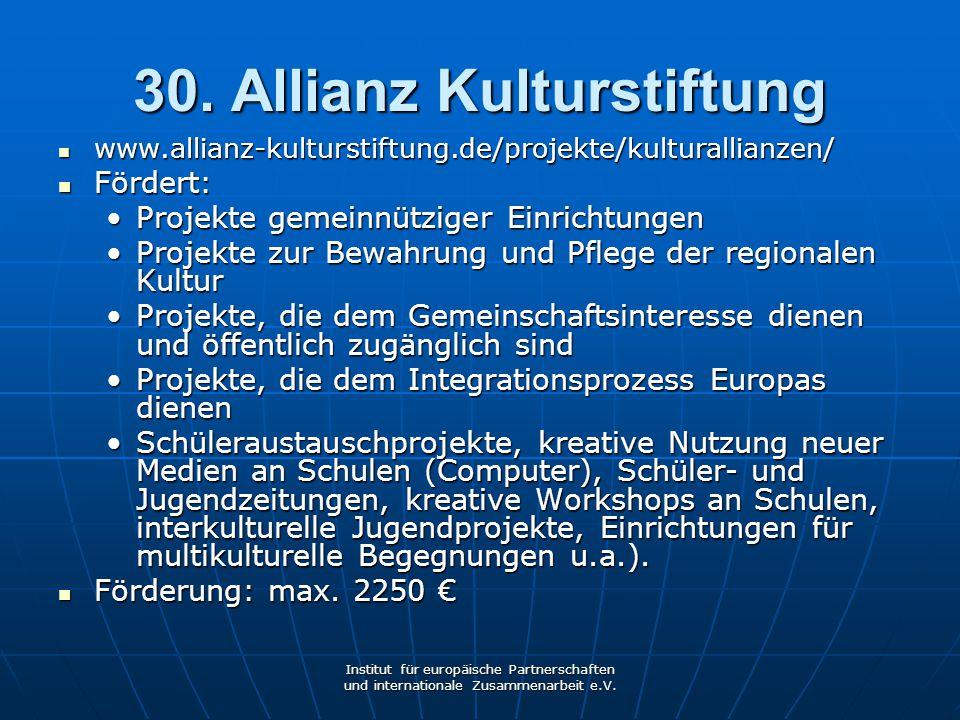 30. Allianz Kulturstiftung