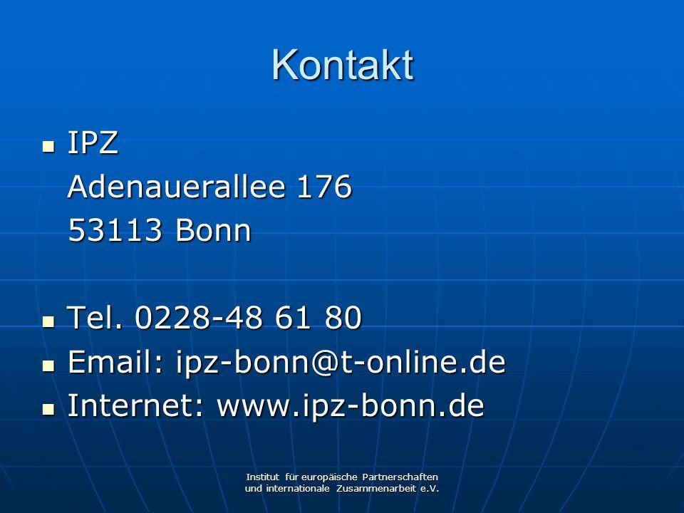 Kontakt IPZ Adenauerallee 176 53113 Bonn Tel. 0228-48 61 80