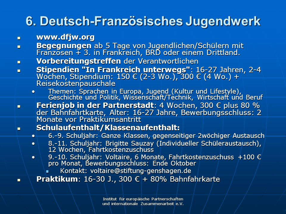 6. Deutsch-Französisches Jugendwerk